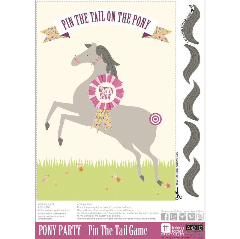 Pony Party - Free Printable Pin the Tail on the Pony