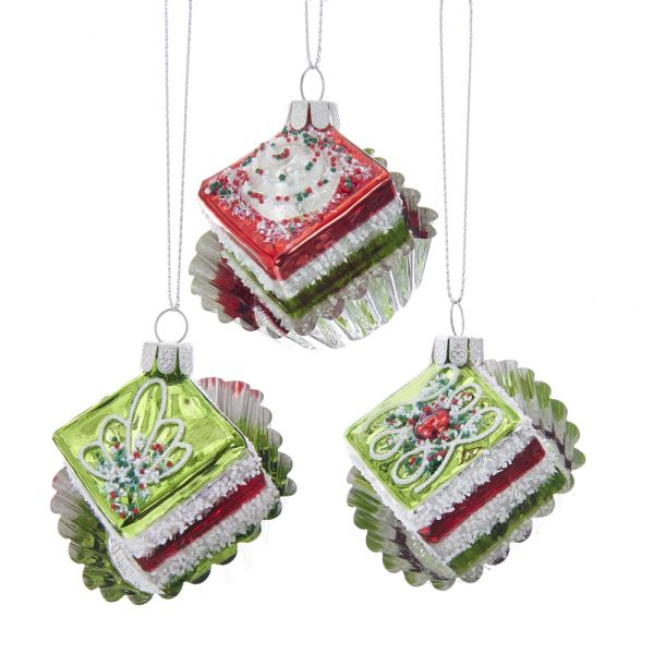 Kurt Adler Red, White and Green Miniature Glass Cake Ornaments | Putti