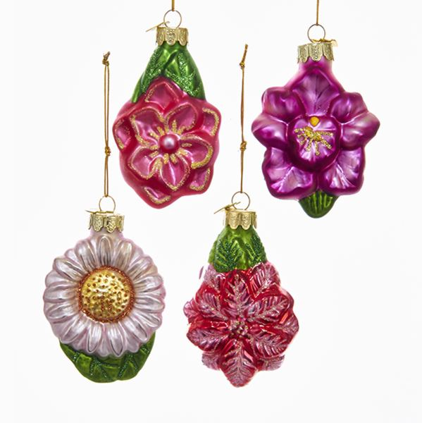 Kurt Adler Glittered Glass Flower Ornament | Putti Christmas Canada