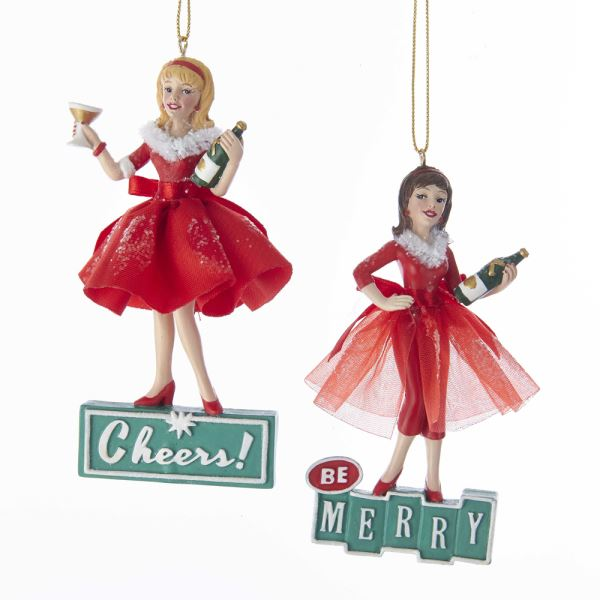 """Cheers!"" and ""Be Merry"" Girl Ornaments - Putti Christmas"
