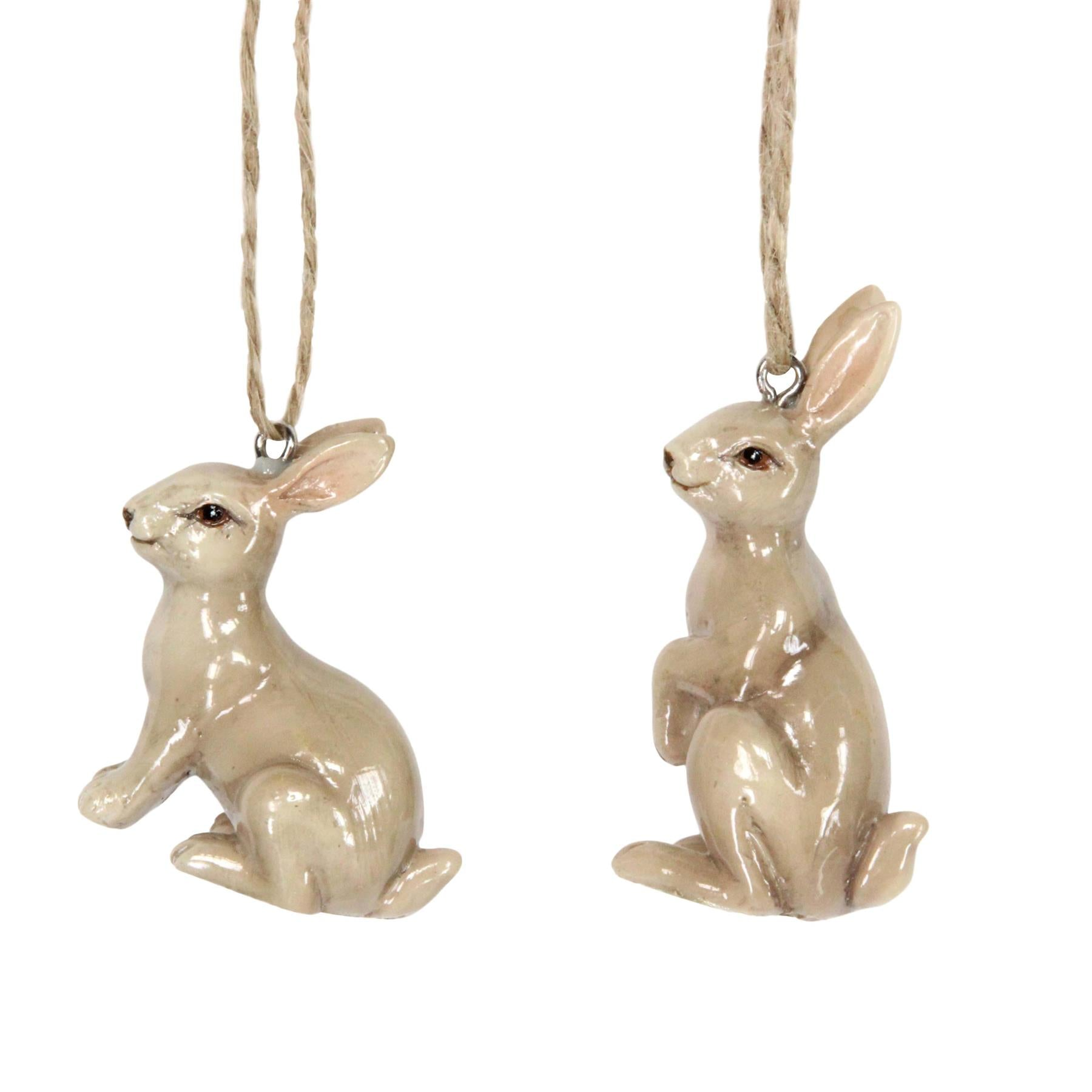 Brown Ceramic Bunny Ornament