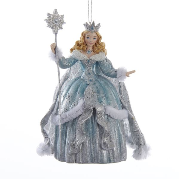 Kurt Adler Platinum and Teal Snow Queen Ornament