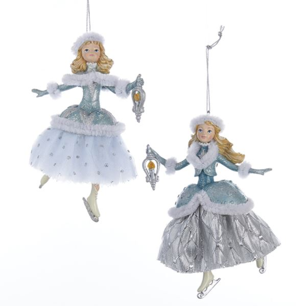 Platinum and Teal Ice Skating Girl With Lantern ornament | Putti Christmas Decorations