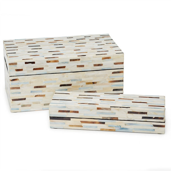 "Tri Color Mother of Pearl Boxes-Accessories-TH-Tozai Home-Small 11 1/4""W x 3 3/4D"" x 2""H-Putti Fine Furnishings"