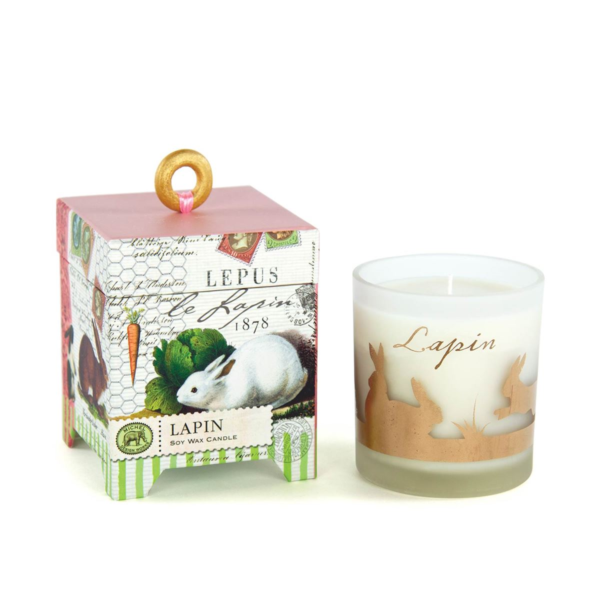"Michel Design Works ""Lapin"" Bunnies Soy Wax Candle 6.5oz 