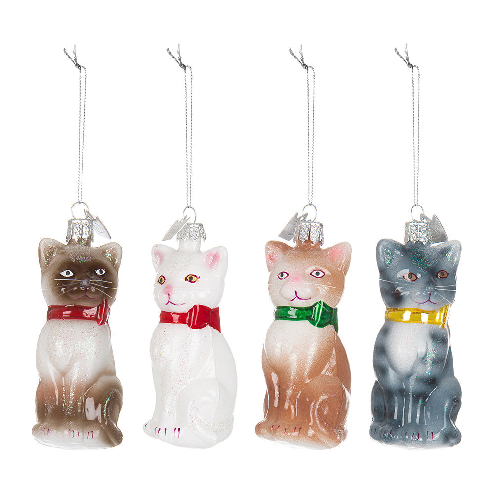 Kurt Adler Glass Cat with Bow Glass Ornaments