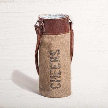 Recycled Canvas Wine Bottle Bag - Cheers