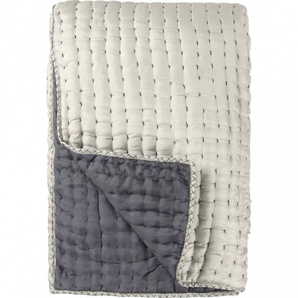 Designers Guild Quilt Chenevard Silver & Slate-Soft Furnishings-DG-Designers Guild-Standard Quilt 230 x 230cm-Putti Fine Furnishings