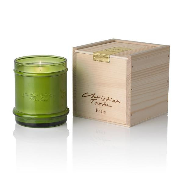 Christian Tortu Candle in Wooden Box - Fresh Green
