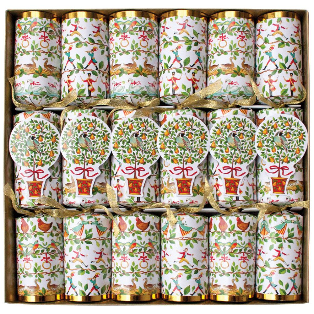 Caspari Twelve Days of Christmas Celebration Christmas Crackers - Putti Christmas