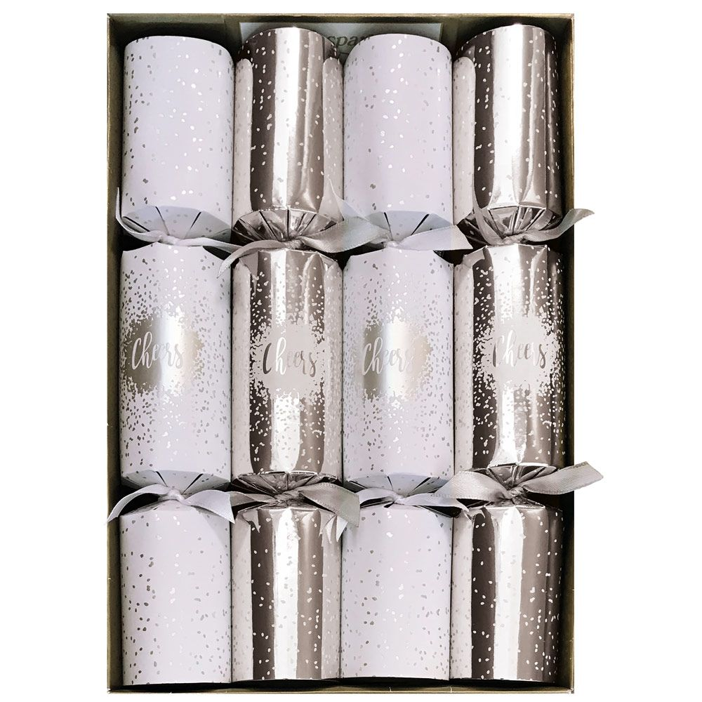Caspari Silver Cheers New Years Celebration Christmas Crackers  | Putti Christmas