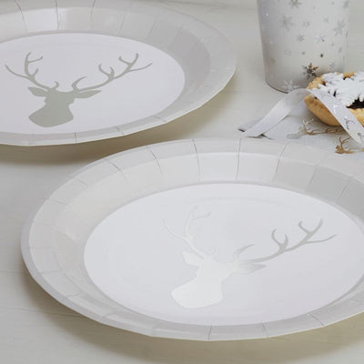 Silver Foiled Stag Paper Plates -  Party Supplies - Ginger Ray UK - Putti Fine Furnishings Toronto Canada - 2