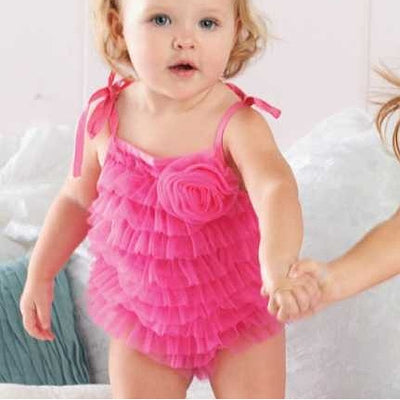Hot Pink Chiffon Bubble Romper, MP-Mud Pie, Putti Fine Furnishings