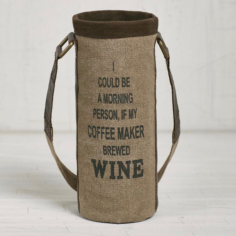 Recycled Canvas Wine Bottle Bag - Coffee Maker