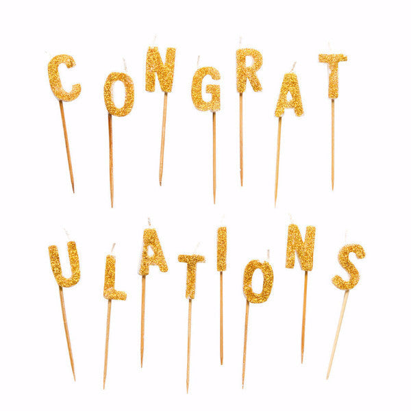 """Congratulations"" Gold Glitter Candles"