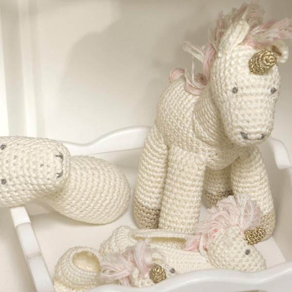Albetta Crochet Unicorn Booties -  Children's - AUK-Albetta UK - Putti Fine Furnishings Toronto Canada - 1