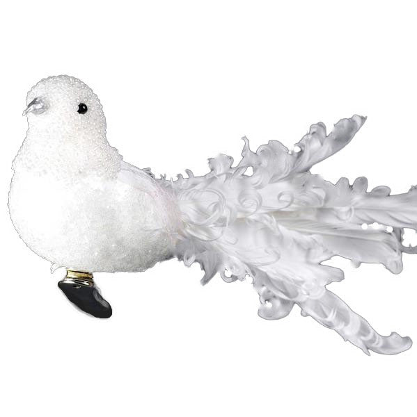White Curl Feather Bird -  Christmas Decorations - Christmas Tradition - Putti Fine Furnishings Toronto Canada