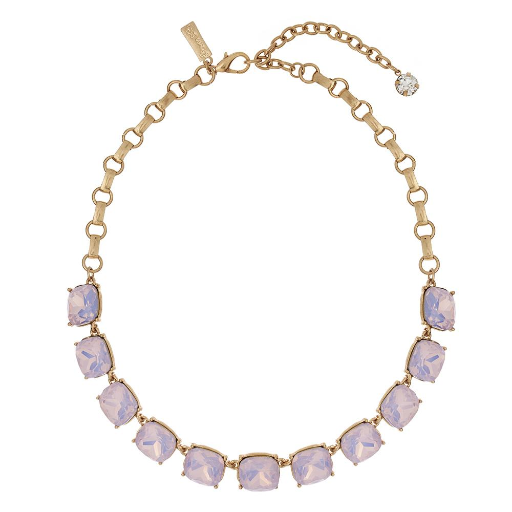Lovett & Co. Cushion Cut Stone Necklace Pink