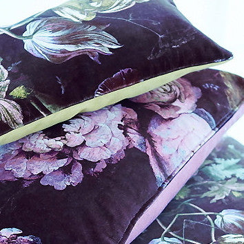 Floralisim Graphic Floral Velvet Cushion 40cm x 22cm