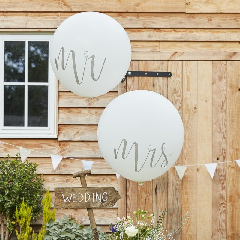 Huge Mr and Mrs White Balloons