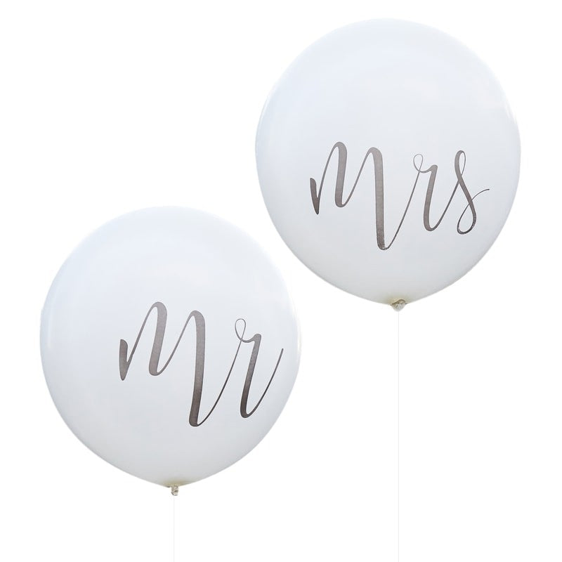 Huge Mr and Mrs White Balloons, GR-Ginger Ray UK, Putti Fine Furnishings