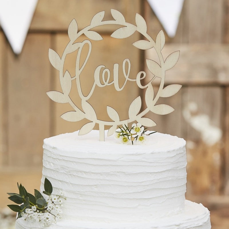 """Love"" Wooden Cake Topper"