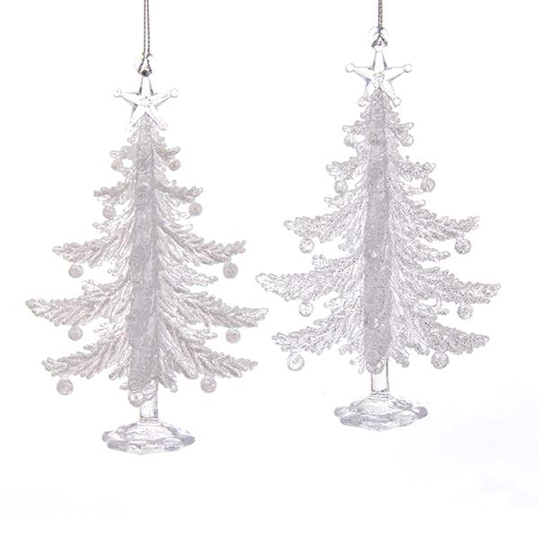 Kurt Adler Clear Christmas Tree Acrylic Ornaments