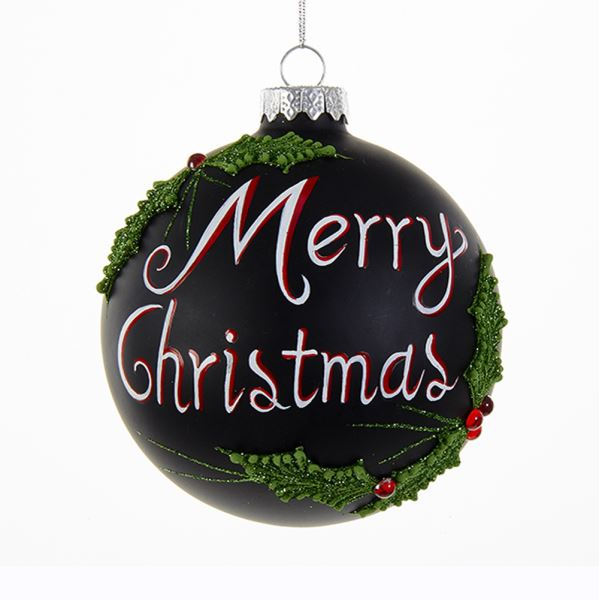 "Kurt Adler ""Merry Christmas"" Black Glass Ornament"