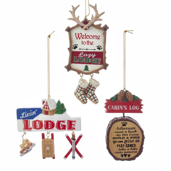 Lodge and Cabin With Sayings Ornaments