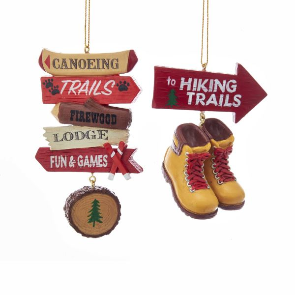 Hiking and Canoeing Sports Ornaments
