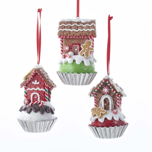 Kurt Adler Cupcake with Gingerbread House Ornament