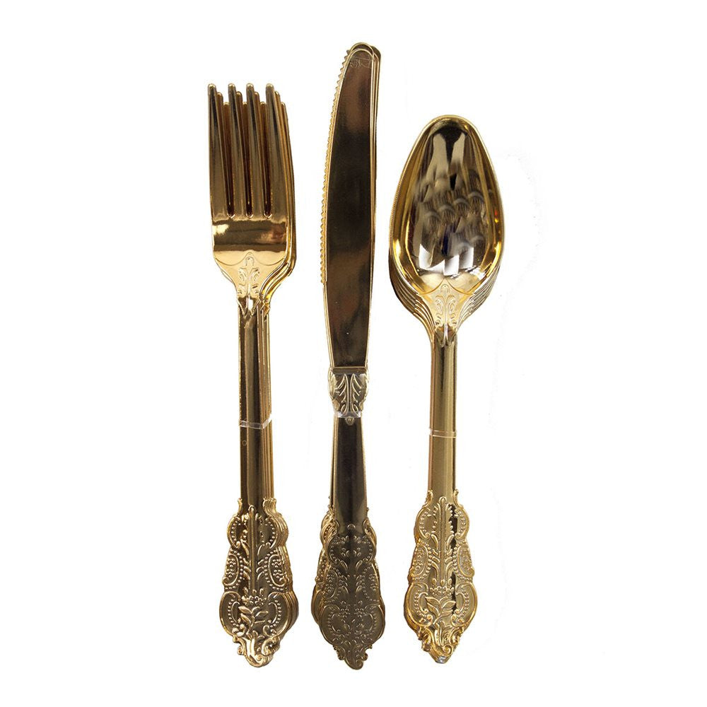Ornate Gold Plastic Cutlery, TT-Talking Tables, Putti Fine Furnishings