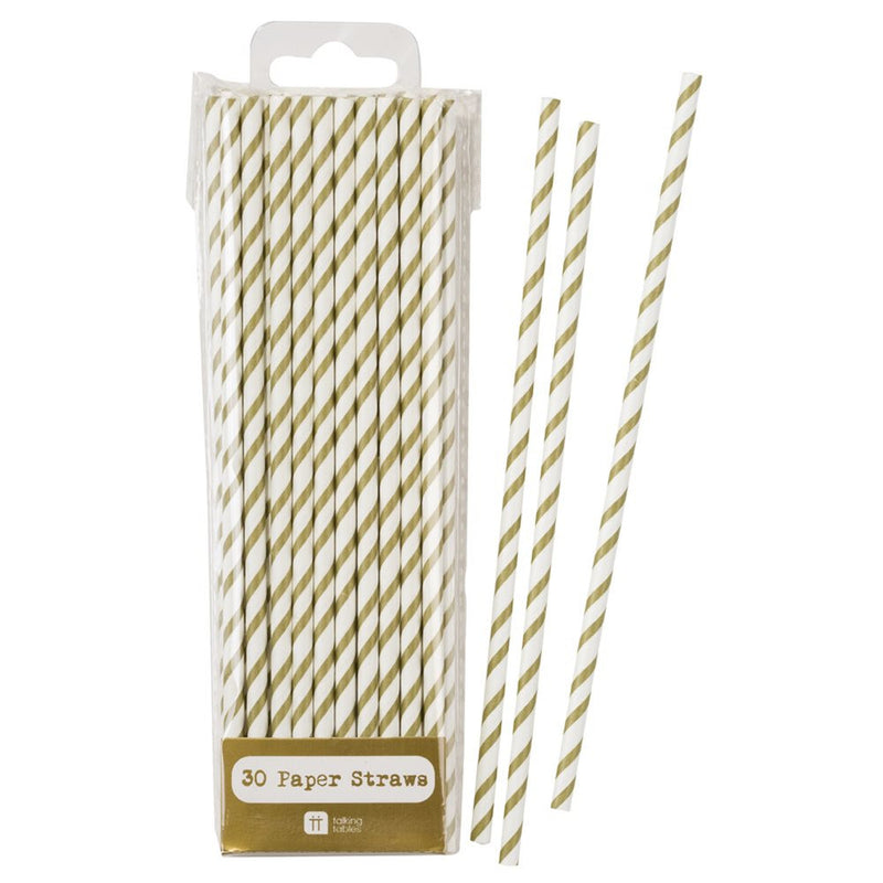 Mix & Match Gold Stripe Straws, TT-Talking Tables, Putti Fine Furnishings