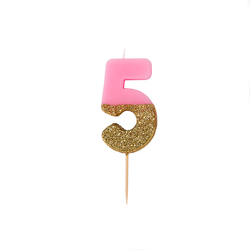 """We Heart Birthdays"" Pink Glitter Number Candle - Five"