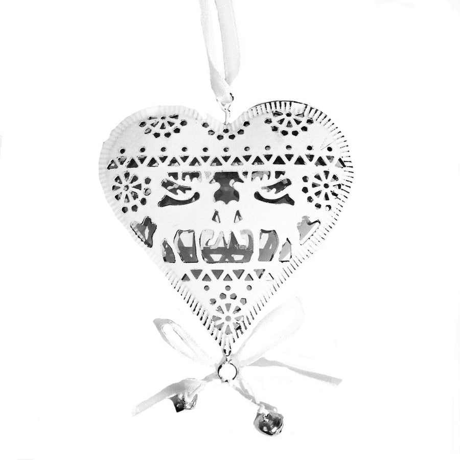 White Cut Out Hanging Heart with Bells