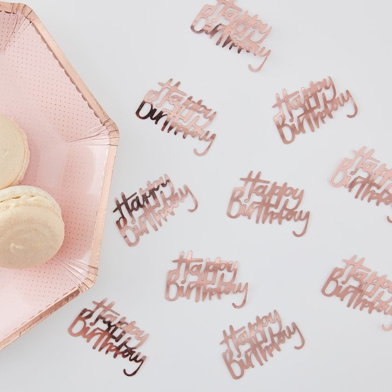 "Ginger Ray Rose Gold ""Happy Birthday"" Table Confetti - Le Petite Putti Party"