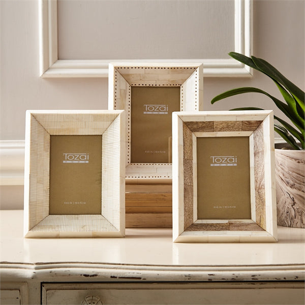 Tozai Natural Bone Picture Frames-Accessories-TH-Tozai Home-Ridged Bone 4 x 6 Frame-Putti Fine Furnishings