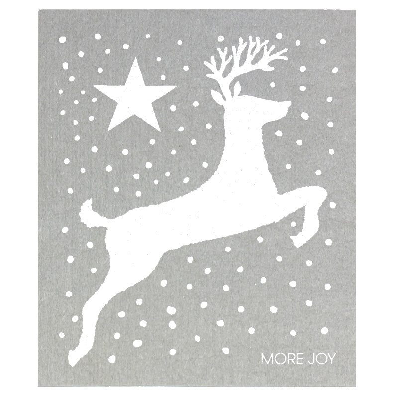 More Joy Reindeer with Snowflake Swedish Cloth