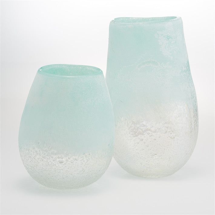 Tozai Sea Foam Hand Blown Glass Vases