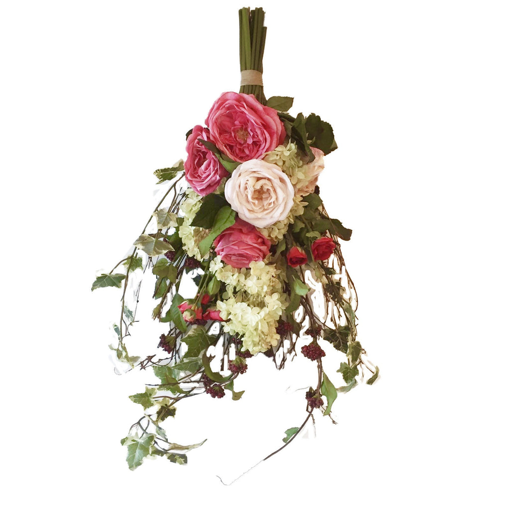 Pink Rose Cuttings Door Swag -  Artificial Flowers - Aldick - Putti Fine Furnishings Toronto Canada