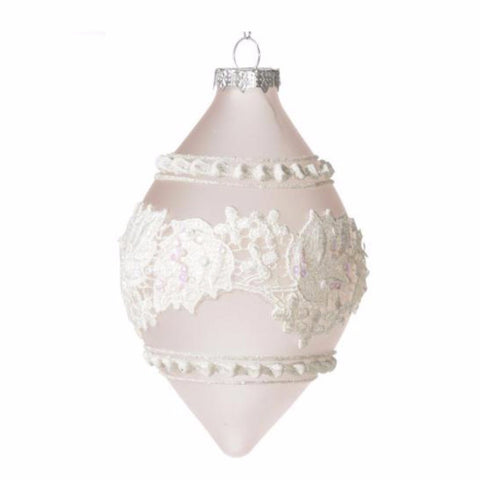 Double Point Frosted Pale Pink Ornament with Lace-Christmas-Floridus Design-Putti Fine Furnishings
