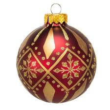 Burgundy and Gold Patterned Glass Ball Ornaments - 6-Piece Box Set