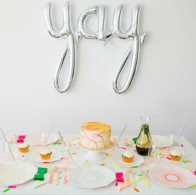 "Silver Foil ""Yay"" Script Balloon Banner, SE-Surprize Enterprize, Putti Fine Furnishings"