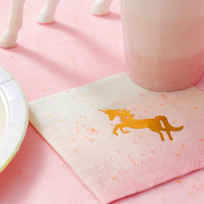 """We Heart Unicorns"" Napkins - Small -  Party Decorations - Talking Tables - Putti Fine Furnishings Toronto Canada - 4"