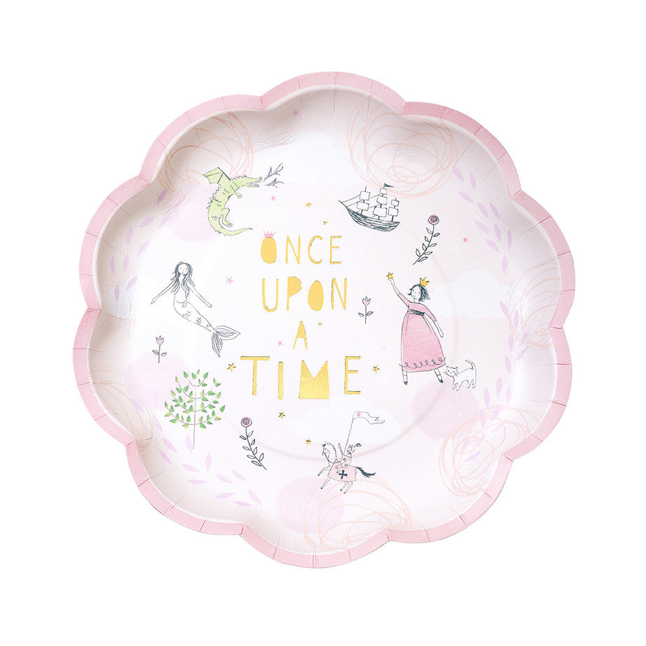 """We Heart Fairytale"" Pink Paper Plates"
