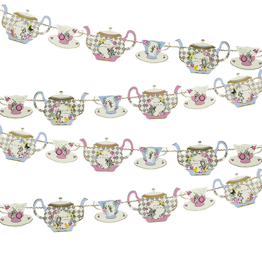 Truly Alice Teapot Bunting -  Party Supplies - Talking Tables - Putti Fine Furnishings Toronto Canada - 1