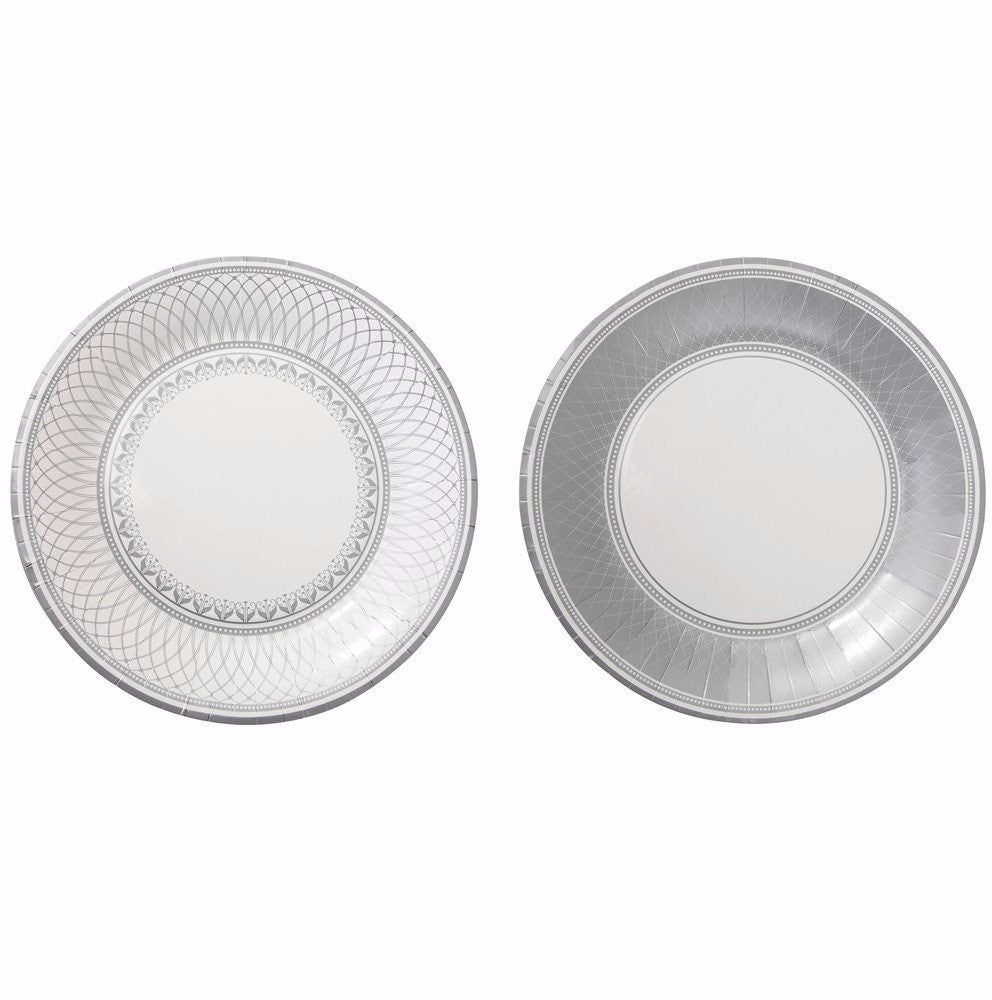 Party Porcelain Silver Large Paper Plates, TT-Talking Tables, Putti Fine Furnishings