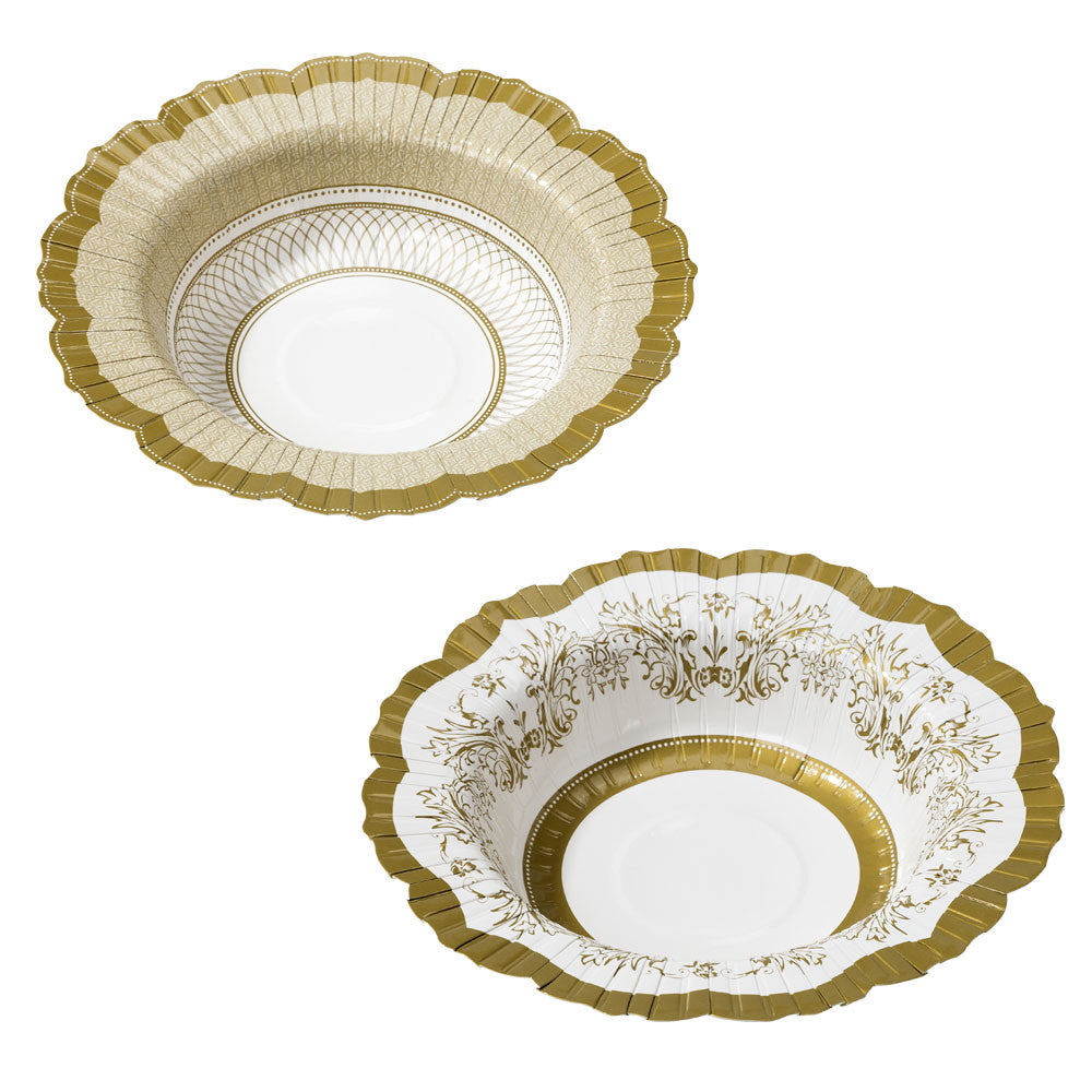 Party Porcelain Gold Paper Bowls