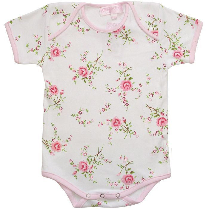 Pink Rose Floral Baby Grow - 0-6 months (Special Order 2 weeks) Children's Clothing - Powell Craft Uk - Putti Fine Furnishings Toronto Canada