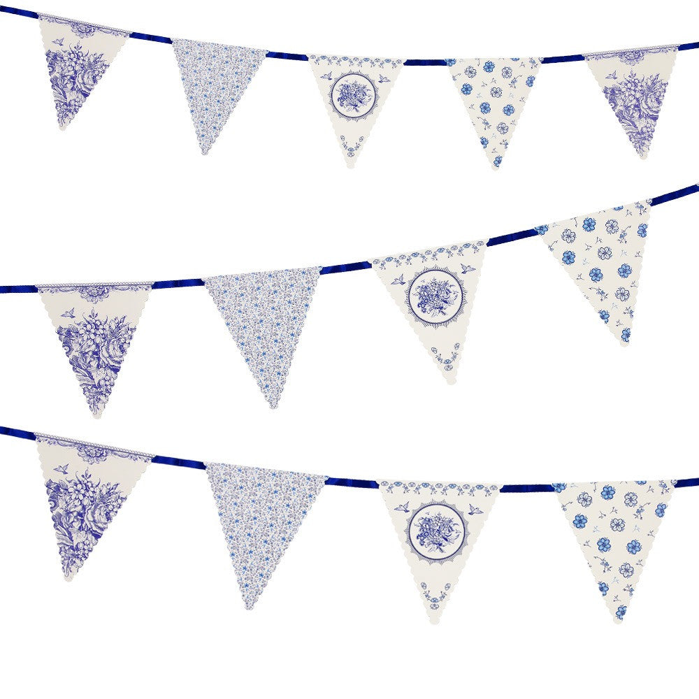 Party Porcelain Blue Bunting -  Party Supplies - Talking Tables - Putti Fine Furnishings Toronto Canada - 1
